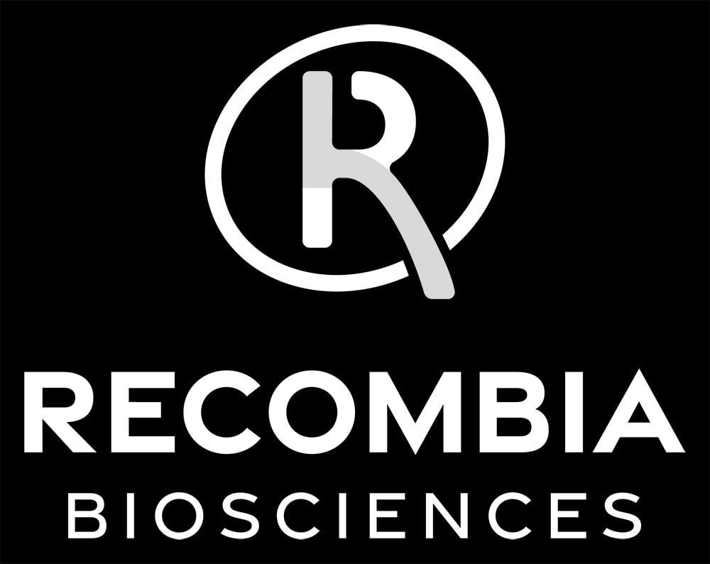 Recombia Biosciences Vertical Logo Reversed Dark BG